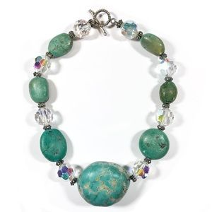 Sterling Silver Chunky Turquoise Beaded Necklace